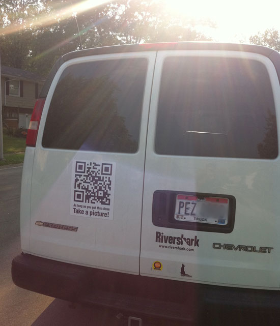 QR Code on the back of our event van